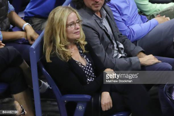 Actress Elisabeth Shue looks on during the Men's Singles Semifinal match between Rafael Nadal of Spain and Juan Martin del Potro of Argentina on Day...