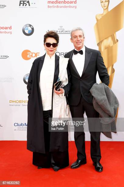 Actress Elisabeth von Molo and german actor Gedeon Burkhard during the Lola - German Film Award red carpet arrivals at Messe Berlin on April 28, 2017...