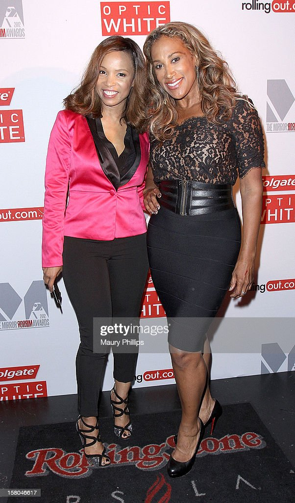 Actress Elise Neal and Lisa Deveaux attend Rolling Out Mirror Mirror Awards at Rolling Stone Restaurant & Lounge on December 6, 2012 in Los Angeles, California.