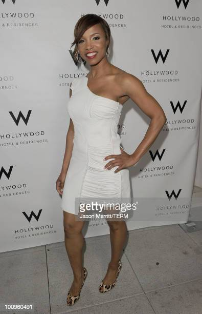 Actress Elise Neal poses at W Hotels' Symmetry Live featuring Janelle Monae at W Hollywood on May 25 2010 in Hollywood California