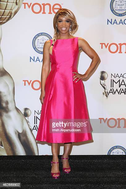 Actress Elise Neal poses in the press room during the 46th NAACP Image Awards presented by TV One at Pasadena Civic Auditorium on February 6 2015 in...