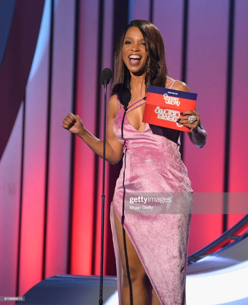 Actress Elise Neal speaks during the 2017 Soul Train Music Awards at the Orleans Arena on November 5, 2017 in Las Vegas, Nevada.