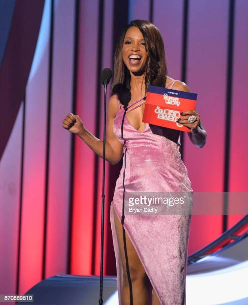 Actress Elise Neal speaks during the 2017 Soul Train Music Awards at the Orleans Arena on November 5 2017 in Las Vegas Nevada