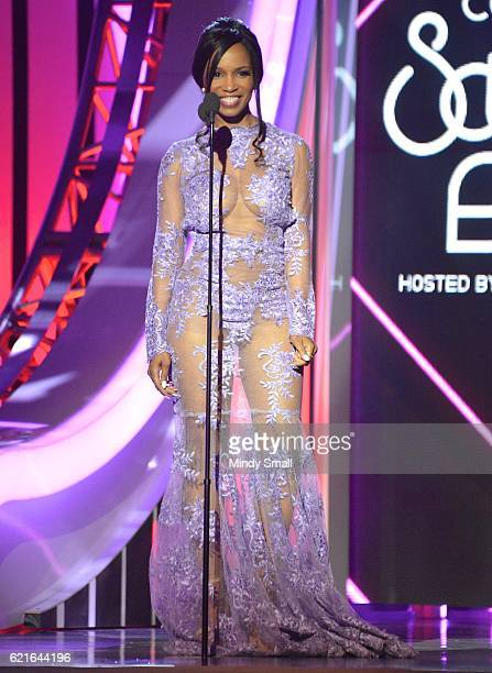 Actress Elise Neal speaks onstage during the 2016 Soul Train Music Awards at the Orleans Arena on November 6 2016 in Las Vegas Nevada
