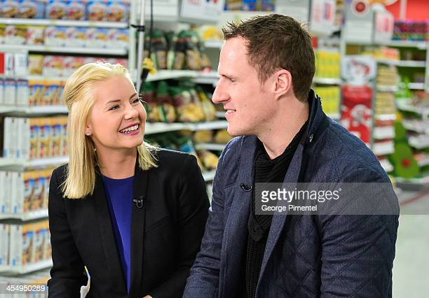 Actress Elisha Cuthbert and her husband professional hockey player Dion Phaneuf make an in-store Holiday appearance at Target at Shoppers World...