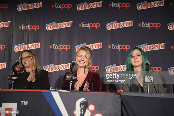 Actress Eliza Bennett actress Taylor Dearden and actor Brandon Mychal Smith attend the Sweet/Vicious press junket at New York Comic Con at Javits...