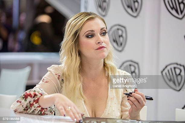 Actress Eliza Taylor attends 'The 100' autograph signing at ComicCon International 2016 Day 2 on July 22 2016 in San Diego California