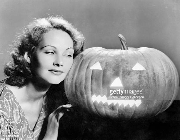 Actress Elizabeth Allan with a Jacko'lantern