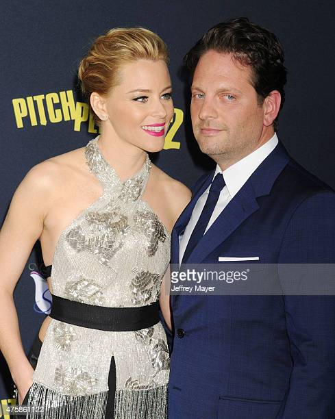 Actress Elizabeth Banks and husband/producer/author Max Handelman arrive at the Los Angeles premiere of 'Pitch Perfect 2' at Nokia Theatre LA Live on...