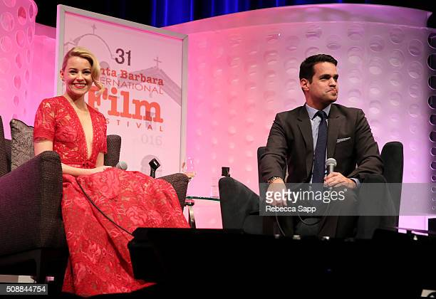 Actress Elizabeth Banks and Moderator Dave Karger speak at the Virtuosos Award at the Arlington Theater at the 31th Santa Barbara International Film...
