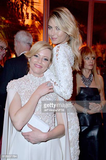 Actress Elizabeth Banks and professional tennis player Maria Sharapova attend the 2016 Vanity Fair Oscar Party Hosted By Graydon Carter at the Wallis...