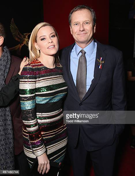 Actress Elizabeth Banks and vice chairman of Lionsgate Michael Burns attend premiere of Lionsgate's The Hunger Games Mockingjay Part 2 at Microsoft...