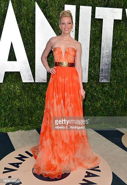 Actress Elizabeth Banks arrives at the 2013 Vanity Fair Oscar Party hosted by Graydon Carter at Sunset Tower on February 24 2013 in West Hollywood...