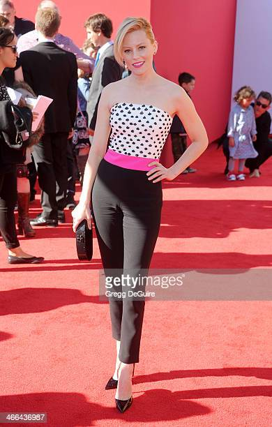 """Actress Elizabeth Banks arrives at the Los Angeles premiere of """"The Lego Movie"""" at Regency Village Theatre on February 1, 2014 in Westwood,..."""