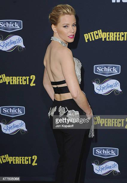 Actress Elizabeth Banks arrives at the Los Angeles Premiere Pitch Perfect 2 at Nokia Theatre LA Live on May 8 2015 in Los Angeles California