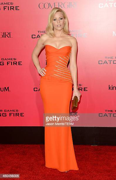Actress Elizabeth Banks arrives at the premiere of Lionsgate's The Hunger Games Catching Fire at Nokia Theatre LA Live on November 18 2013 in Los...