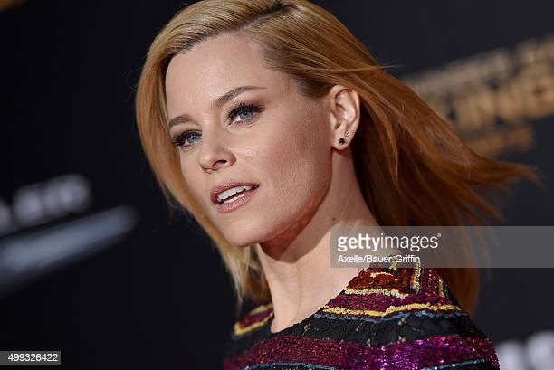 Actress Elizabeth Banks arrives at the premiere of Lionsgate's 'The Hunger Games Mockingjay Part 2' at Microsoft Theater on November 16 2015 in Los...
