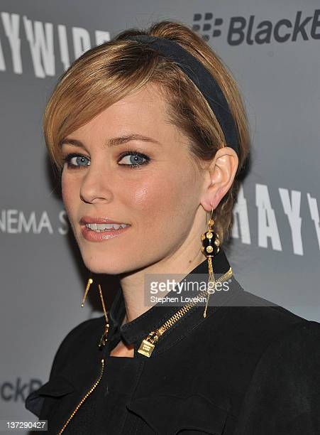 Actress Elizabeth Banks attends the Cinema Society Blackberry Bold screening of Haywire at Landmark Sunshine Cinema on January 18 2012 in New York...