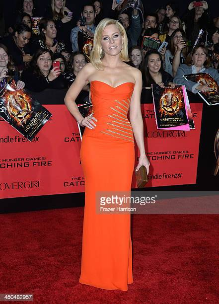Actress Elizabeth Banks attends the premiere of Lionsgate's The Hunger Games Cathching Fire at Nokia Theatre LA Live on November 18 2013 in Los...