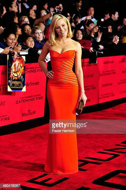Actress Elizabeth Banks attends the premiere of Lionsgate's 'The Hunger Games Cathching Fire' at Nokia Theatre LA Live on November 18 2013 in Los...