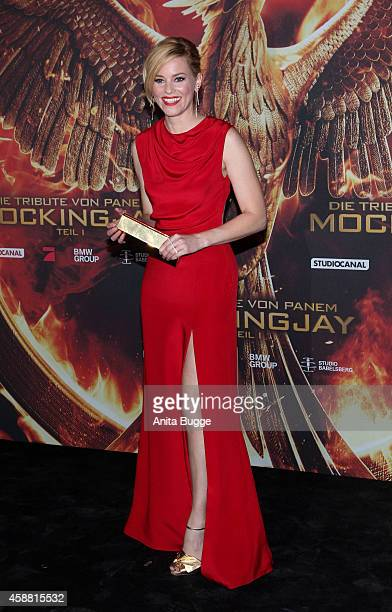 Actress Elizabeth Banks attends the 'The Hunger Games Mockingjay Part 1' preview event at Kraftwerk Mitte on November 11 2014 in Berlin Germany