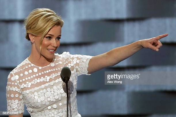 Actress Elizabeth Banks delivers remarks during the second day of the Democratic National Convention at the Wells Fargo Center July 26 2016 in...