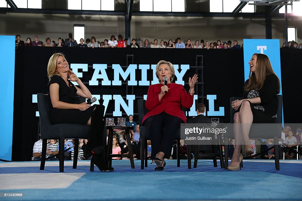 Actress Elizabeth Banks, democratic presidential nominee former Secretary of State Hillary Clinton and Chelsea Clinton appear on stage during a Family Town Hall event at Haverford Community Recreation and Environmental Center on October 4, 2016 in Haverford, Pennsylvania. Hillary Clinton is campaigning in Pennsylvania.
