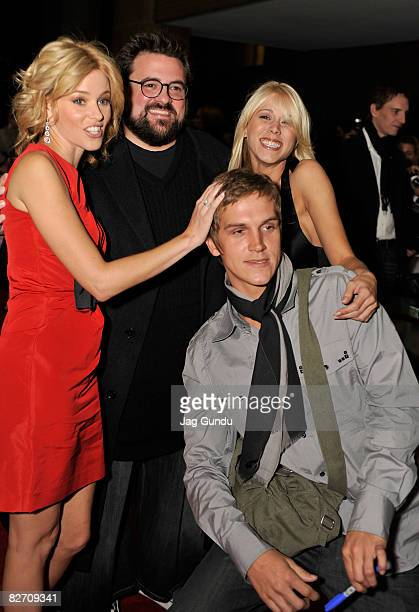 Actress Elizabeth Banks director Kevin Smith actors Katie Morgan and Jason Mewes arrive at the Zack and Miri Make a Porno premiere during 2008...