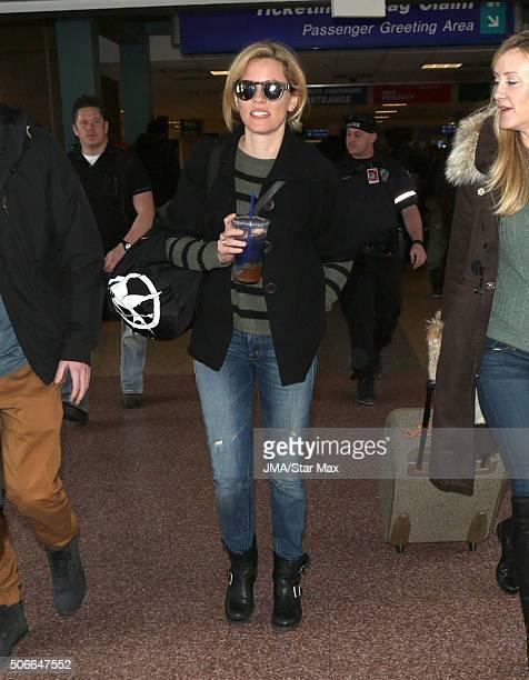 Actress Elizabeth Banks is seen on January 24 2016 at The Salt Lake City International Airport in Salt Lake City Utah