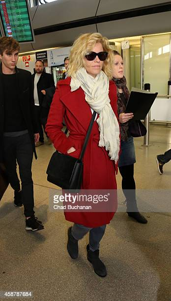 Actress Elizabeth Banks sighted at Tegel Airport on November 11 2014 in Berlin Germany