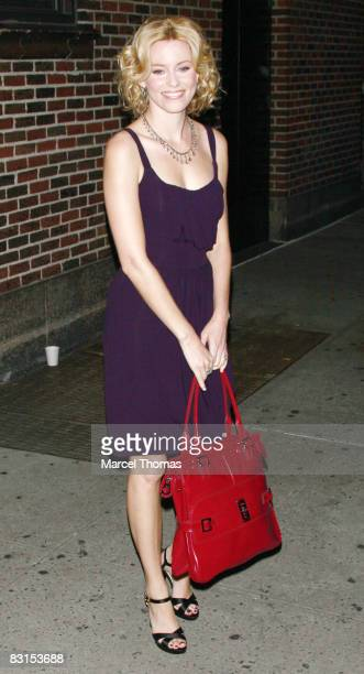 Actress Elizabeth Banks visits Late Show with David Letterman at the Ed Sullivan Theatre on October 6 2008 in New York City