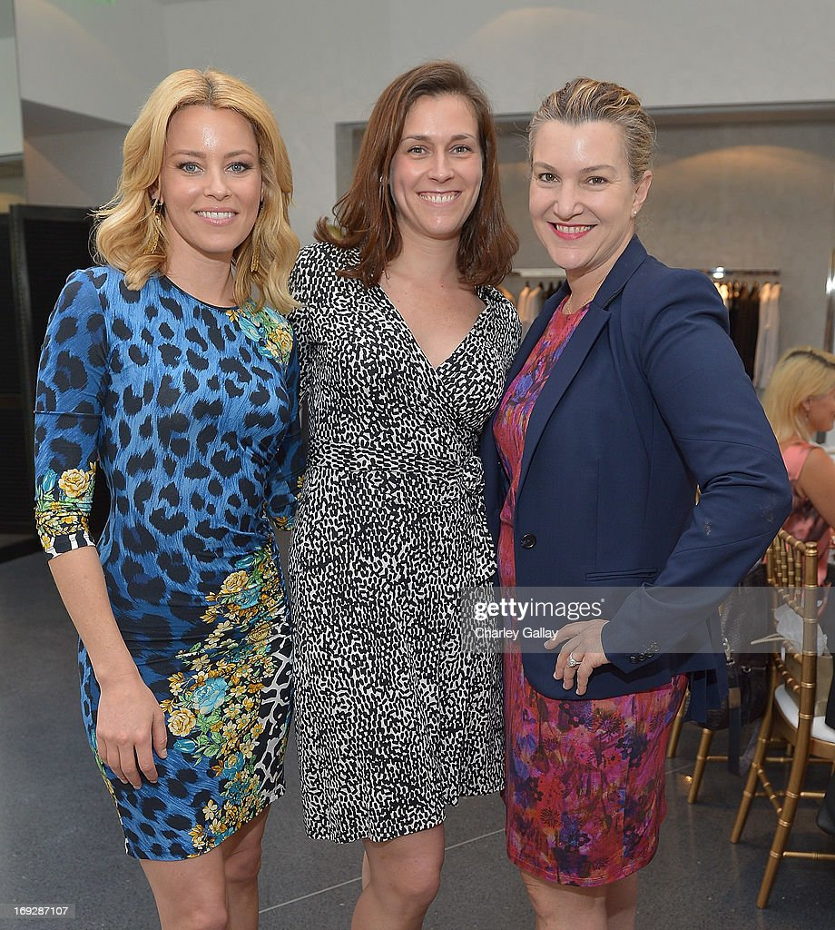 Actress Elizabeth Banks, Vital Voices' Jennifer Smith and West Coast Editor of Vanity Fair Krista Smith attend Versace, Vanity Fair, And Elizabeth Banks Luncheon Benefitting Vital Voices Global Partnership at Versace on May 22, 2013 in Beverly Hills, California.