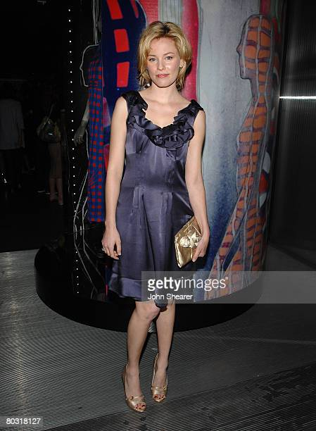 Actress Elizabeth Banks wearing Prada attends the Los Angeles screening of Trembled Blossoms presented by Prada on March 19 2008 in Beverly Hills...