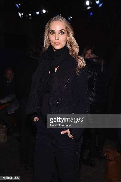 Actress Elizabeth Berkley attends the Greg Lauren fashion show during MercedesBenz Fashion Week Fall 2015 at ArtBeam on February 18 2015 in New York...