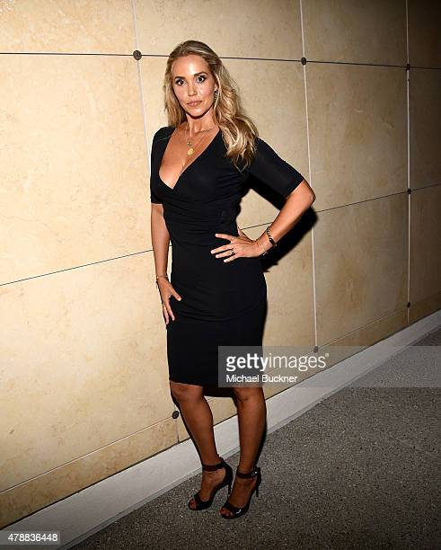 "Actress Elizabeth Berkley introduces the Cinespia Screening of ""Showgirls"" at the Hollywood Forever Cemetery on June 27, 2015 in Hollywood,..."