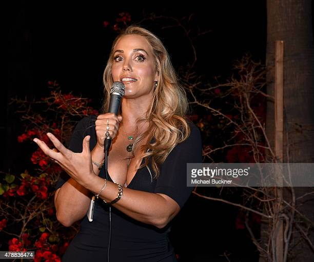Actress Elizabeth Berkley introduces the Cinespia Screening of 'Showgirls' at the Hollywood Forever Cemetery on June 27 2015 in Hollywood California