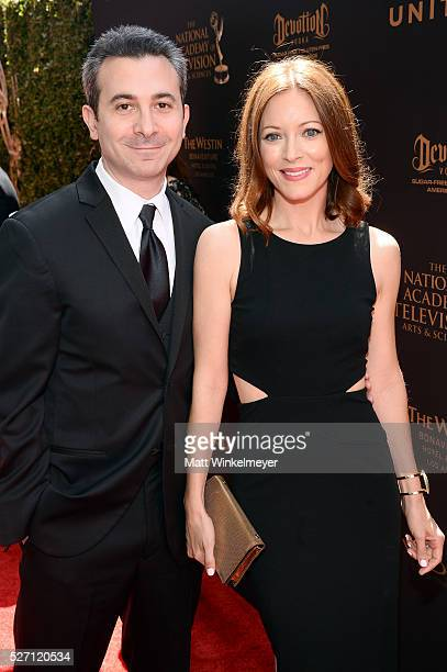 Actress Elizabeth Bogush and guest arrive at the 43rd Annual Daytime Emmy Awards at the Westin Bonaventure Hotel on May 1 2016 in Los Angeles...