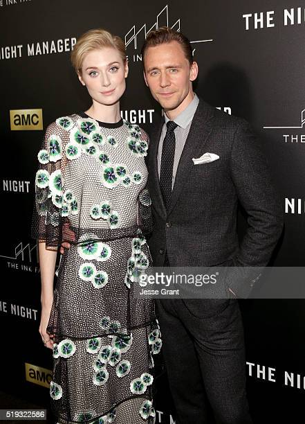 Actress Elizabeth Debicki and actor Tom Hiddleston attend the premiere of AMC's The Night Manager at DGA Theater on April 5 2016 in Los Angeles...