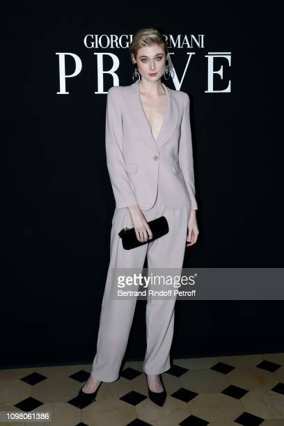 Actress Elizabeth Debicki attends the Giorgio Armani Prive Haute Couture Spring Summer 2019 show as part of Paris Fashion Week on January 22, 2019 in...