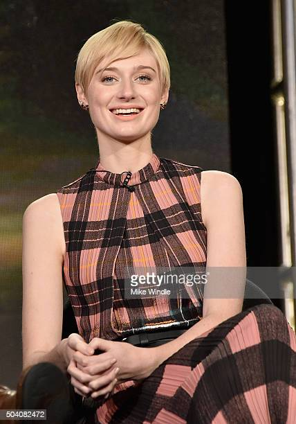 Actress Elizabeth Debicki speaks onstage during the AMC Winter TCA Press Tour 2016 The Night Manager panel at The Langham Huntington Hotel and Spa on...