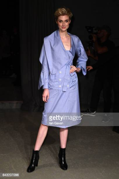 Actress Elizabeth Debicki wearing Burberry poses backstage at the Burberry February 2017 Show during London Fashion Week February 2017 at Makers...