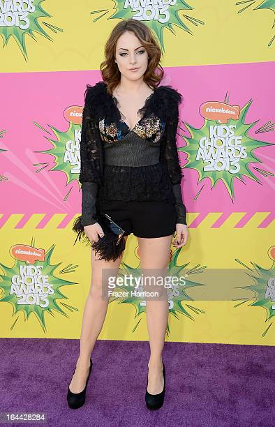 Actress Elizabeth Gillies arrives at Nickelodeon's 26th Annual Kids' Choice Awards at USC Galen Center on March 23 2013 in Los Angeles California