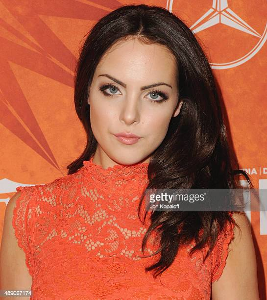 Actress Elizabeth Gillies arrives at the Variety And Women In Film Annual PreEmmy Celebration at Gracias Madre on September 18 2015 in West Hollywood...
