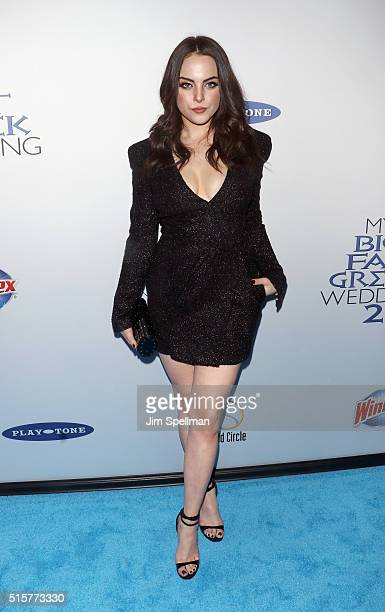 Actress Elizabeth Gillies attends the 'My Big Fat Greek Wedding 2' New York premiere at AMC Loews Lincoln Square 13 theater on March 15 2016 in New...