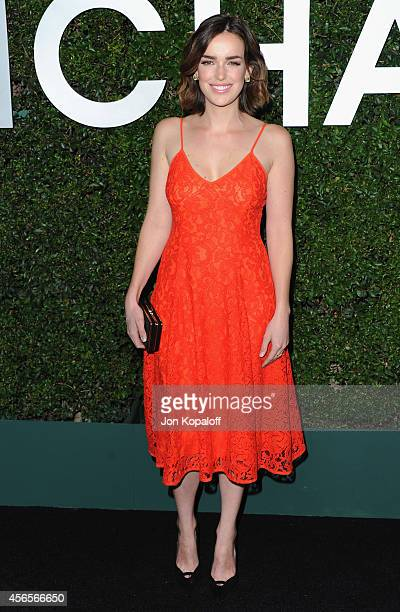 Actress Elizabeth Henstridge arrives at Michael Kors Celebrates The Launch Of Claiborne Swanson Frank's 'Young Hollywood' Portrait Book on October 2...