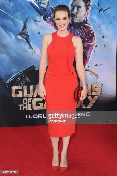 Actress Elizabeth Henstridge arrives at the Los Angeles Premiere 'Guardians Of The Galaxy' at the El Capitan Theatre on July 21 2014 in Hollywood...