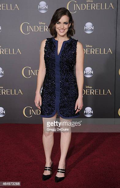 """Actress Elizabeth Henstridge arrives at the World Premiere of Disney's """"Cinderella"""" at the El Capitan Theatre on March 1, 2015 in Hollywood,..."""