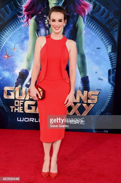 Actress Elizabeth Henstridge attends Marvel's 'Guardians Of The Galaxy' Los Angeles Premiere at the Dolby Theatre on July 21 2014 in Hollywood...