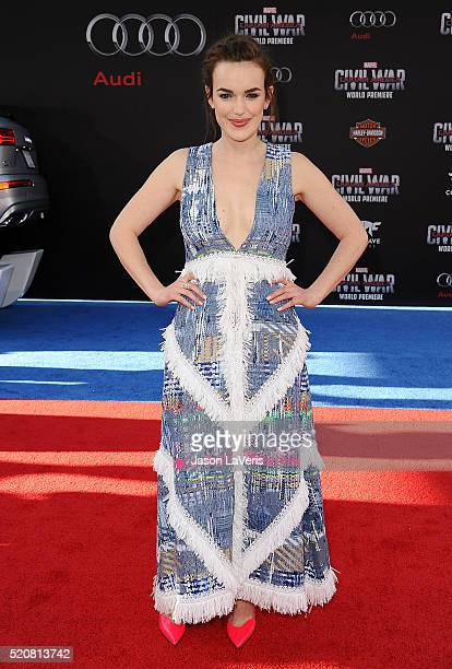 Actress Elizabeth Henstridge attends the premiere of 'Captain America Civil War' at Dolby Theatre on April 12 2016 in Hollywood California