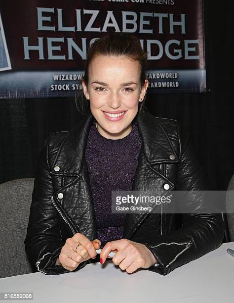 Actress Elizabeth Henstridge attends Wizard World Las Vegas at the Las Vegas Convention Center on March 19 2016 in Las Vegas Nevada